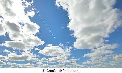 bleu, nuages, voler, ciel, lumière soleil, avion