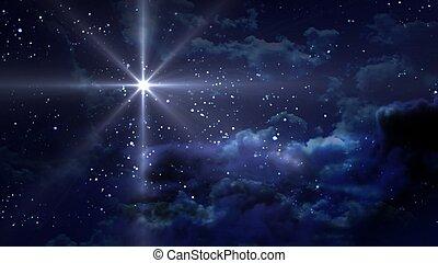 bleu, nuit, étoilé