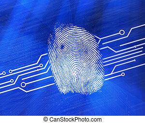 bleu, numérique, backgro, empreinte doigt