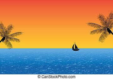 bleu, océan coucher soleil