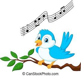 bleu, oiseau chant, dessin animé