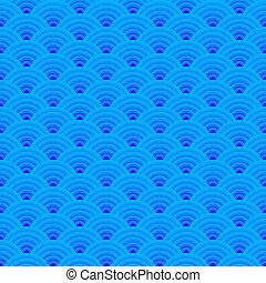 bleu, ornement, japonaise