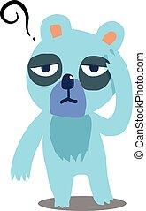 bleu, ours, avoir, mal tête