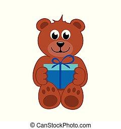 bleu, ours brun, cadeau, teddy