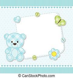 bleu, ours, carte, teddy