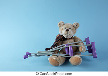 bleu, ours, jour, international, béquilles, disabilities., personnes, arrière-plan., teddy
