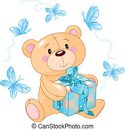 bleu, ours peluche, cadeau