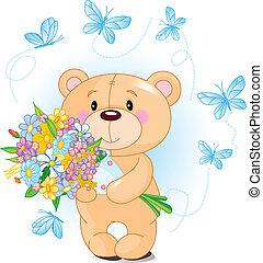 bleu, ours peluche, fleurs