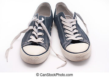 bleu, paire, marche, vieux, chaussures