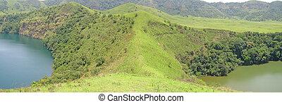 bleu, panorama, collines, deux, lacs, vert, afrique, entre, camerounais