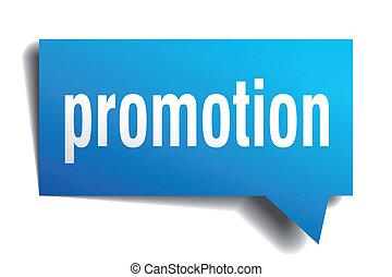 bleu, papier, bulle, promotion, réaliste, isolé, parole, 3d, blanc