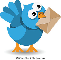 bleu, papier, enveloppe, oiseau