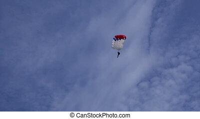 bleu, parachutiste, ciel