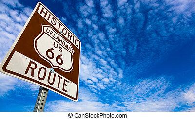 bleu, parcours, ciel, signe, historique, 66, route