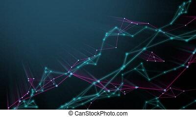 bleu, particle., technologie, résumé, fond