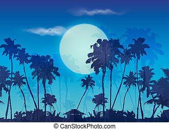 bleu, paumes, grand, silhouettes, lune, fond foncé, crépuscule, paysage