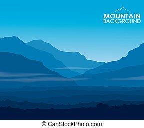 bleu, paysage, énorme, montagnes