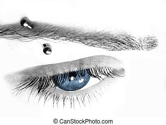 bleu, percer, oeil, &