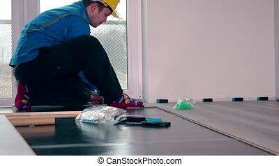 bleu, plancher, laminate, travail, ouvrier, maître, usure, installer
