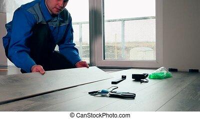 bleu, plancher, room., travail, ouvrier, vergé, bois, usure, blanc