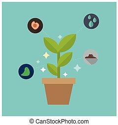 bleu, plante, concept, science, image, incandescent, vecteur, fond