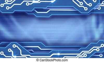 bleu, plaques, circuit électronique, boucle