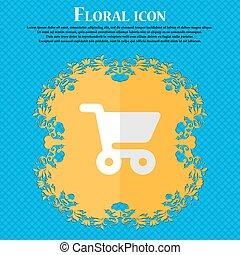 bleu, plat, achats, basket., résumé, text., vecteur, conception, fond, floral, endroit, ton