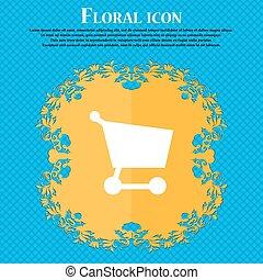bleu, plat, achats, résumé, text., panier, vecteur, conception, fond, floral, endroit, ton