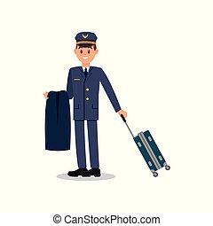bleu, plat, civil, ouvrier, jeune, isolé, veste, cap., vecteur, aviation., tenue, complet, conception, suitcase., capitaine, pilote