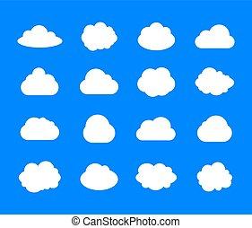 bleu, plat, ensemble, icônes, ciel, nuages, fond, vecteur, conception, temps, blanc, illustrations.