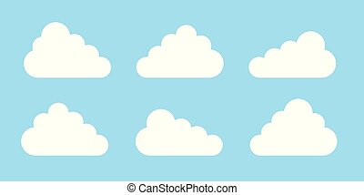 bleu, plat, ensemble, icônes, symbole, ou, isolé, conception, fond, conception, site web, logo, ton, nuage