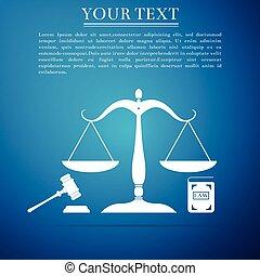 bleu, plat, law., concept, icône, balances, enchère, justice, symbole, justice., isolé, légal, symbole., arrière-plan., livre, vecteur, illustration, marteau, droit & loi, design.