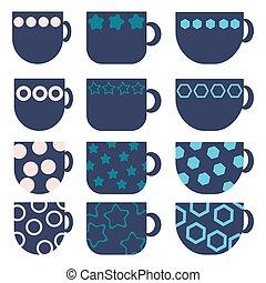 bleu, plat, simple, hexagones, géométrique, cercles, boisson, tasses, étoiles, ensemble, plats, motifs, confortable, grandes tasses