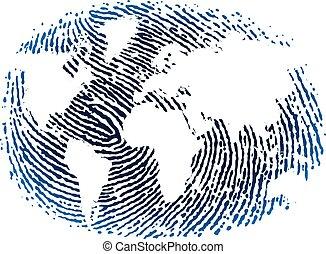 bleu, plat, tones., empreinte doigt, mondiale, style., icône
