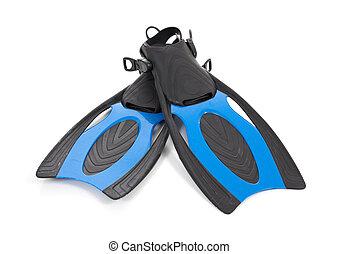 bleu, plongée, nageoires, fond blanc