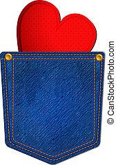 bleu, poche, jean, coeur