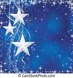 bleu, points, étoiles, occasions., hiver, transparencies., lumière, fête, lignes, neige, /, noël, ondulé, flocons, non, fond, ton