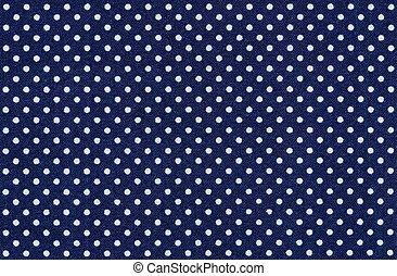 bleu, points, tissu, polka, sombre, blanc