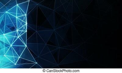 bleu, polygone, seamless, incandescent, fond, boucle
