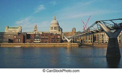 bleu, pont, paul, sky., embankment., millénaire, saint, cathédrale, tamise, vue