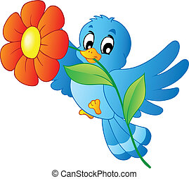bleu, porter, oiseau, fleur