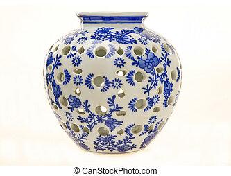 bleu, poterie, blanc, pot