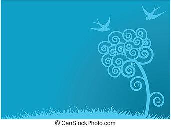 bleu, printemps, fond
