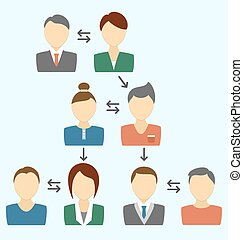 bleu, processus, avatars, isolé, communication