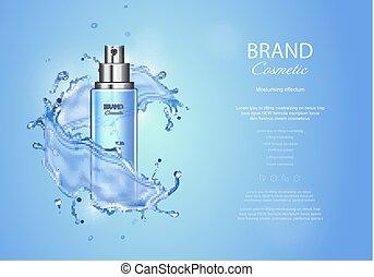 bleu, produit, éléments, annonces, arrière-plan., illustration, eau, réaliste, pulvérisation, vecteur, glace, bouteille, toner, gouttes, produits de beauté