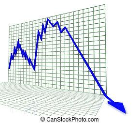 bleu, profit, graphique, ventes, ou, spectacles