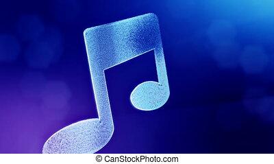 bleu, profondeur, copie, fond, icône, fait, music., vitrtual, seamless, space., particules, bokeh, animation, v5, champ, hologram., 3d, lueur