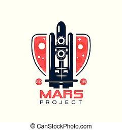 bleu, projet, style, vecteur, emblème, vol spatial, rocket., résumé, colonisation, sombre, programme, voyage, colors., mars, navette, logo, ligne, image, rouges