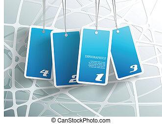 bleu, propre, card., texte, pendre, quatre, endroit, boîte, chaque, vous, ton, cartes.