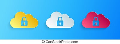bleu, protection, serrure, style., isolé, sécurité, sécurité, nuage, icône, concept., calculer, arrière-plan., art, coupure, vecteur, papier